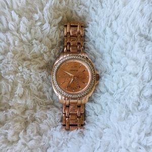 Rose gold Geneva wrist watch